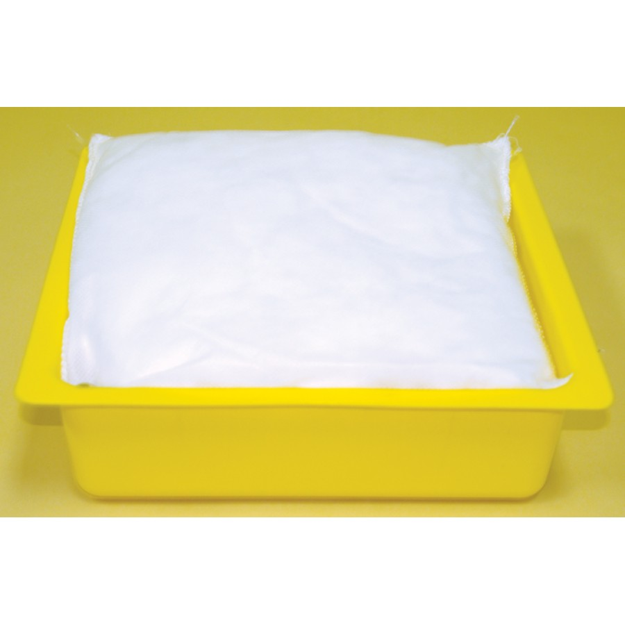 "Oil Absorbent Pillows with Drip Pans - (12) 10""x10"" Pillows, (3) Pans"
