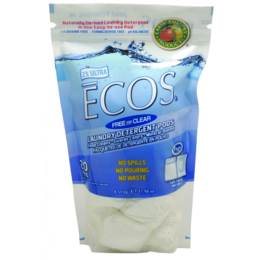 Ecos Liquid Laundry Detergent, Free & Clear Pods | 14.5oz - (12/Case)