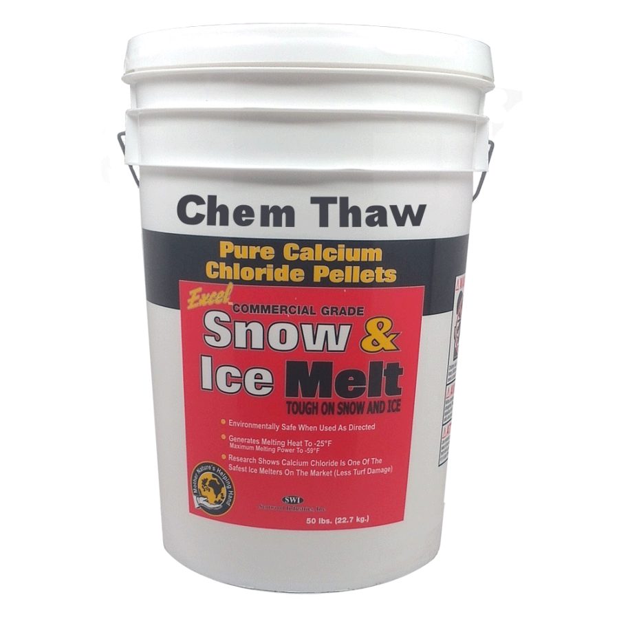 Chem Thaw Industrial Ice Melt - Calcium Chloride Pellets (packaged in 50 lb bucket) - Effective up to -40 F.