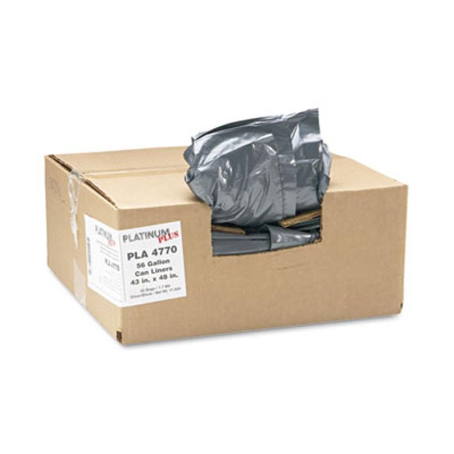 GARBAGE BAG GARBAGE BAG - Can Liner, Super Hexene Resin 56 Gal, 1.55 mil, 43 x 48, 50/CartonPlatinum