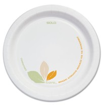 "PAPER PLATES PAPER PLATES - Bare Paper Dinnerware, 6"" Plate, Green/Tan, 500/CartonClay coated paper"