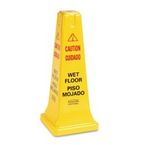"Wet Floor Sign Wet Floor Sign - Rubbermaid  Commercial Multilingual Safety ConeCAUTION,25"" CONE,YWFo"