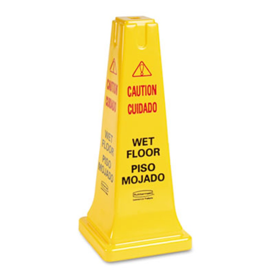 """Wet Floor Sign Wet Floor Sign - Rubbermaid  Commercial Multilingual Safety ConeCAUTION,25"""" CONE,YWFo"""