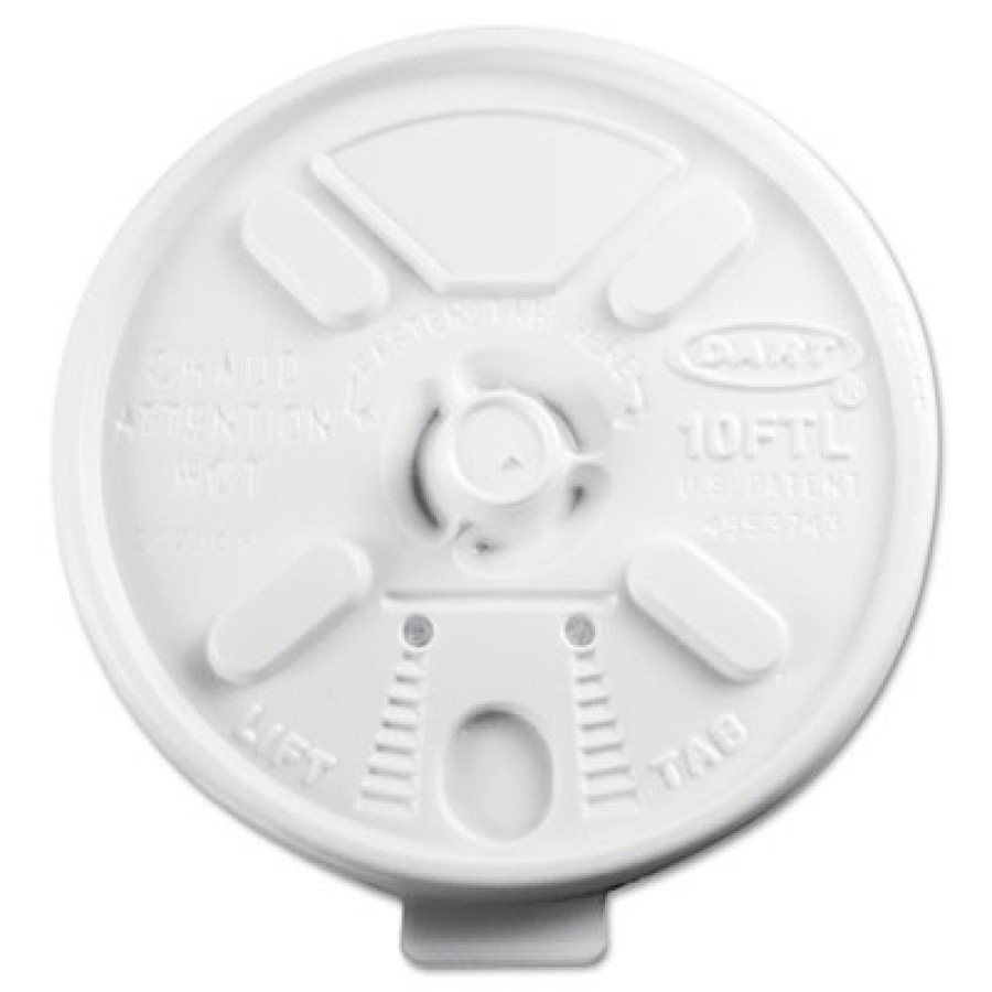 FOAM CUP LIDS FOAM CUP LIDS - Lift N' Lock Plastic Hot Cup Lids, Fits 10-oz. Cups, WhitePlastic Lift