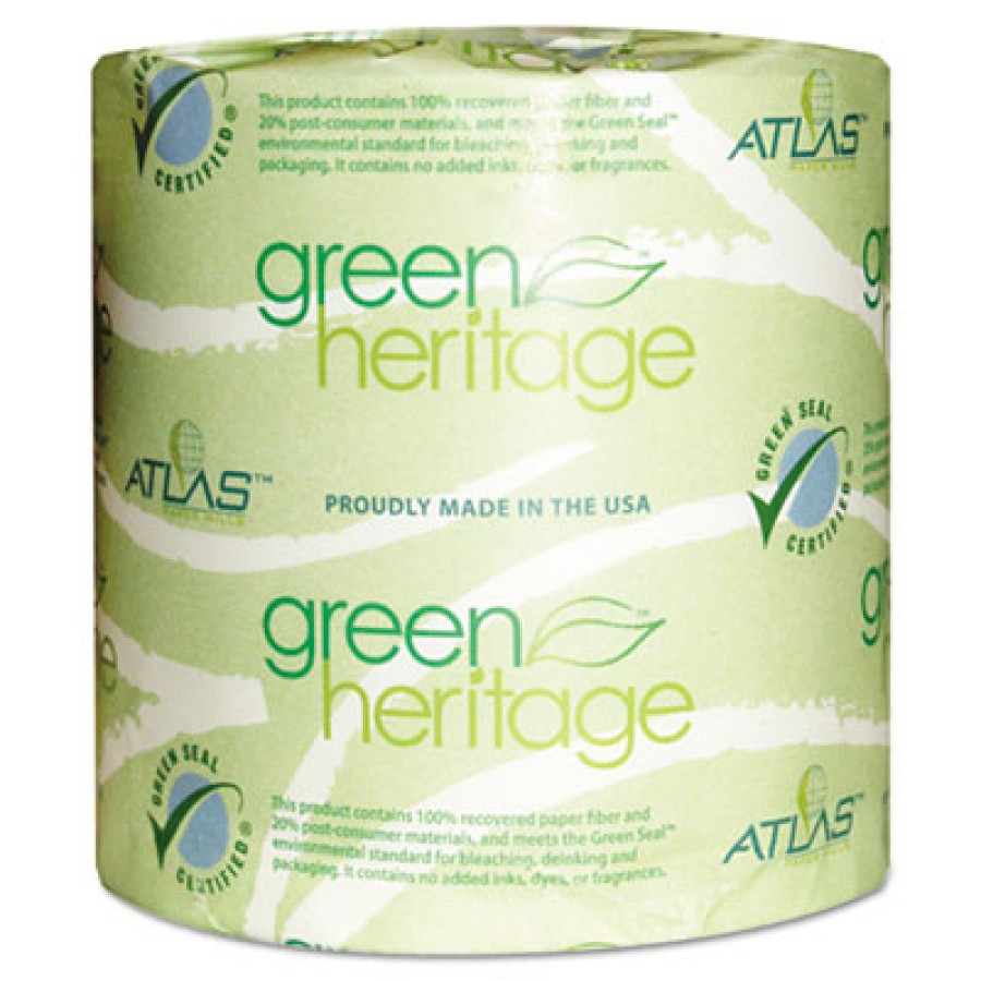 TOILET PAPER TOILET PAPER - Green Heritage Bathroom Tissue, 1-Ply Sheets, WhiteAtlas Paper Mills Gre