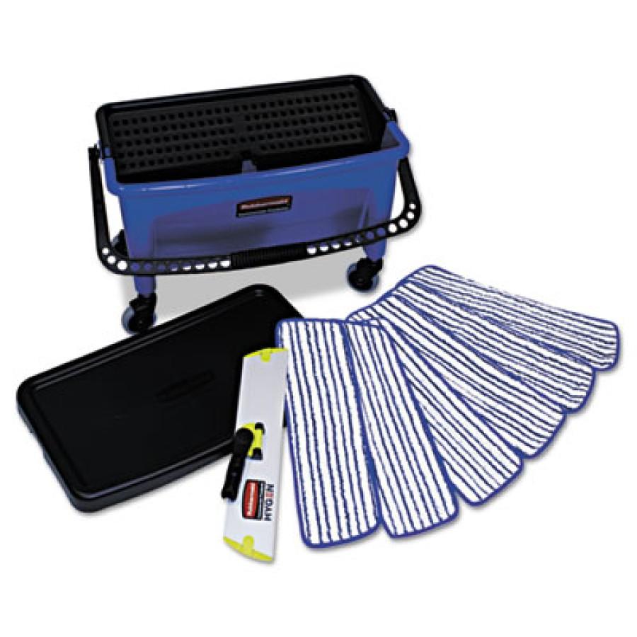 MICROFIBER MOP KIT MICROFIBER MOP KIT - Microfiber Floor Finishing System, 27 gal, Blue/Black/WhiteR