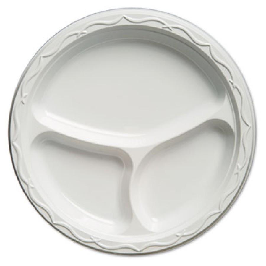 PLASTIC PLATES PLASTIC PLATES - Aristocrat Plastic Plates, 10 1/4 Inches, White, Round, 3 Compartmen