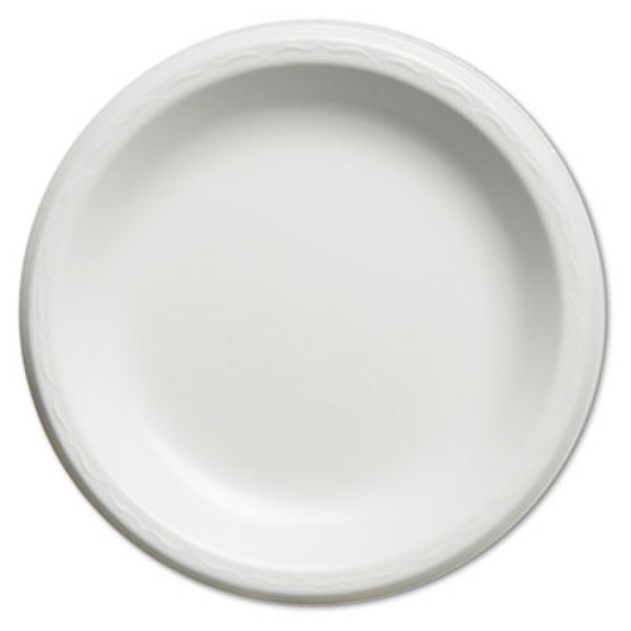 FOAM PLATES FOAM PLATES - Elite Laminated Foam Plates, 8.88 Inches, White, Round, 125/PackGenpak  El