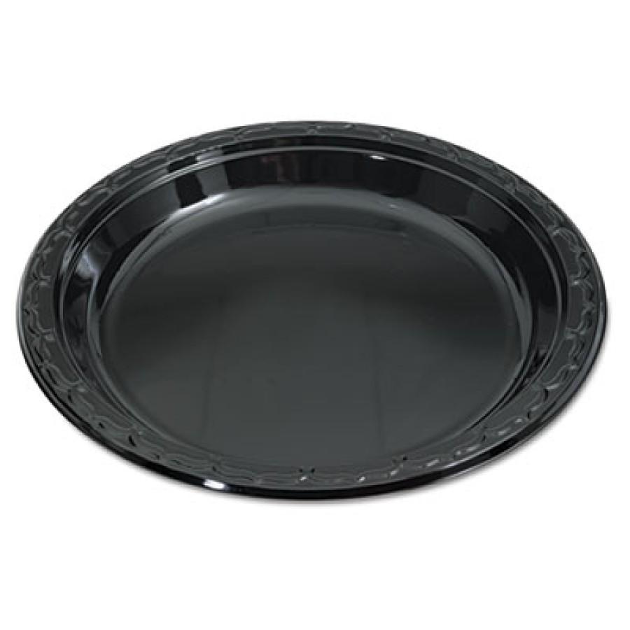 PLASTIC PLATES PLASTIC PLATES - Silhouette Black Plastic Plates, 10 1/4 Inches, Round, 100/PackGenpa