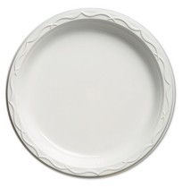 PLASTIC PLATES PLASTIC PLATES - Aristocrat Plastic Plates, 10 1/4 Inches, White, Round, 125/PackGenp
