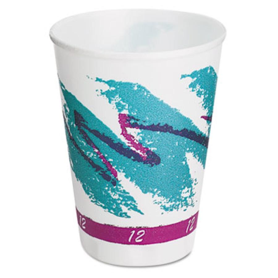 FOAM CUPS FOAM CUPS - Trophy Foam Hot/Cold Drink Cups, 12 oz., Jazz Design, 100/PackSOLO  Cup Compan