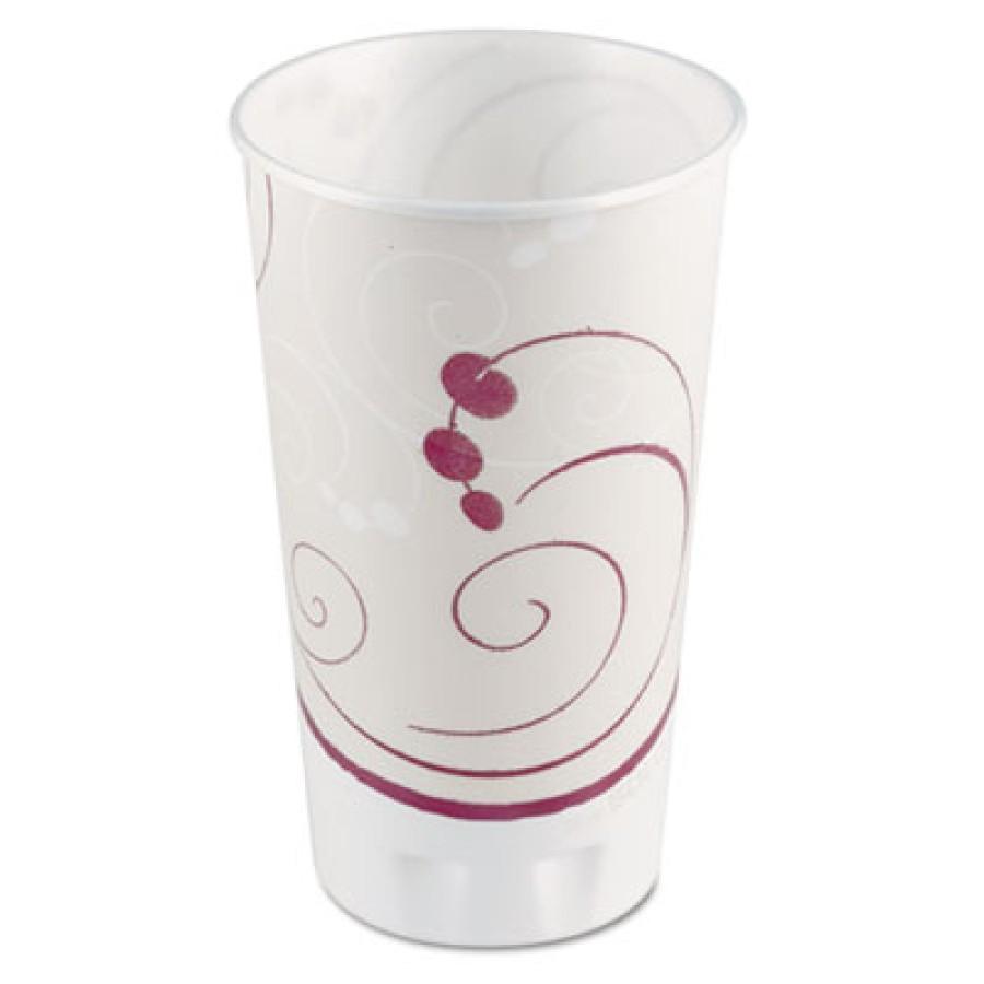FOAM CUPS FOAM CUPS - Trophy Insulated Thin-Wall Foam Cups, 20 oz, Hot/Cold, Symphony, Beige/White/R