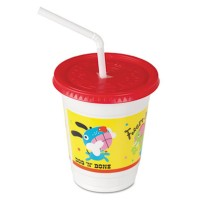KIDS PLASTIC CUPS KIDS PLASTIC CUPS - Plastic Kids' Cups with Lids/Straws, 12 oz., Critter PrintColo