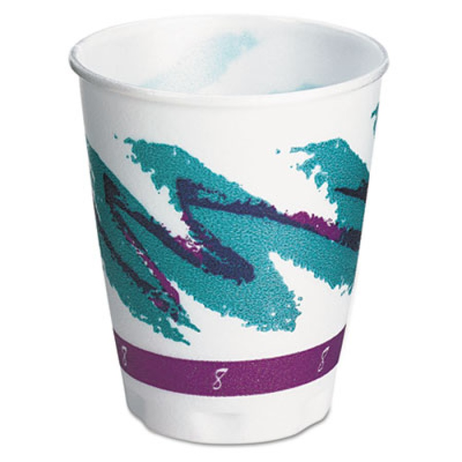 FOAM CUPS FOAM CUPS - Trophy Insulated Thin-Wall Foam Cups, Hot/Cold, 8 oz, Jazz, White/Green/Purple