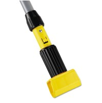 "PUSH BROOM HANDLE PUSH BROOM HANDLE - Gripper Vinyl-Covered Aluminum Mop Handle, 60"", Gray/YellowRub"