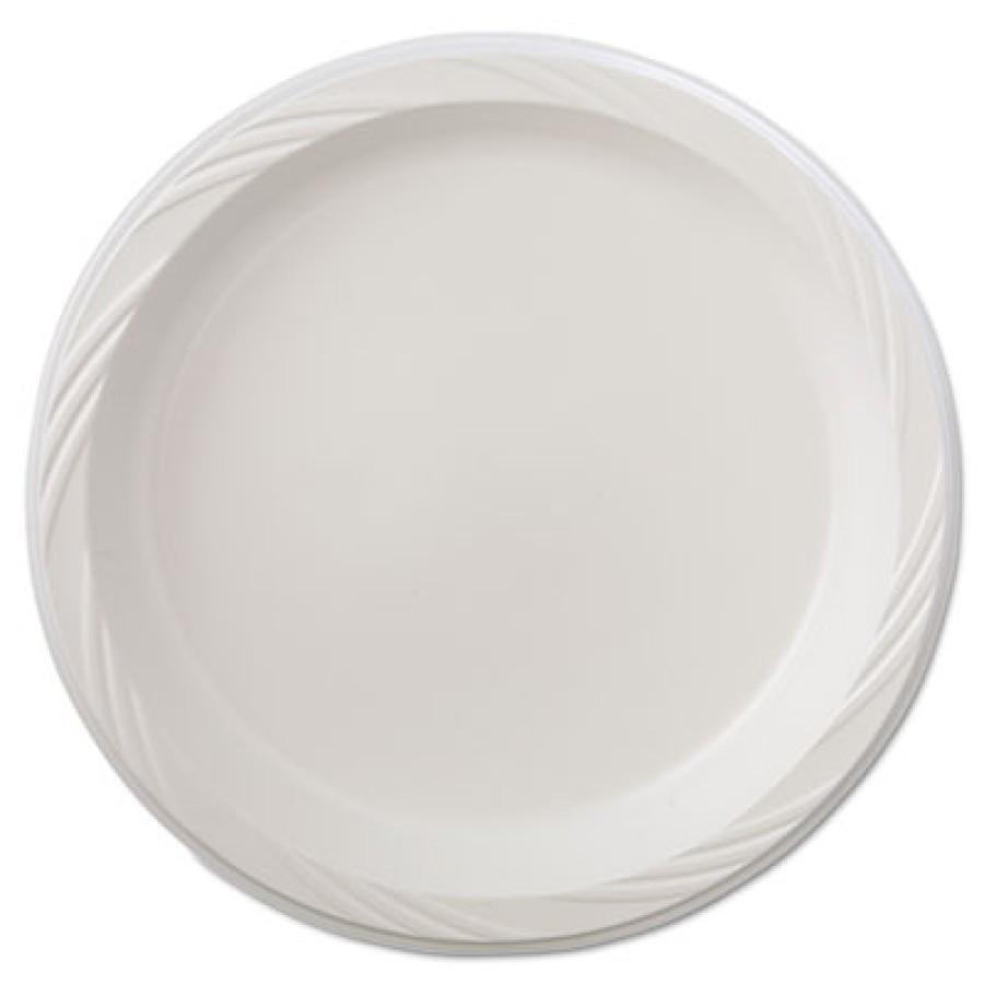 PLASTIC PLATES PLASTIC PLATES - Plastic Plates, 9 Inches, White, Round, Lightweight, 125/PackChinet