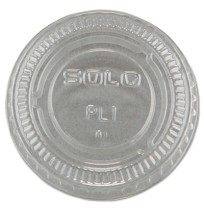SOUFFLE CUPS SOUFFLE CUPS - No-Slot Plastic Cup Lids, .75-1.5oz Cups, ClearSOLO  Cup Company No-Slot
