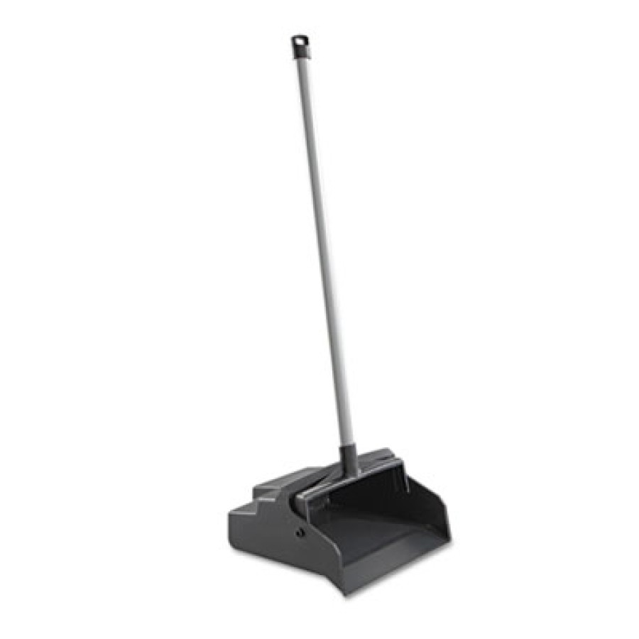 "LOBBY DUST PAN LOBBY DUST PAN - LobbyMaster Plastic Lobby Dustpan, 12"" Wide, 37"" High, Black Pan/Whi"