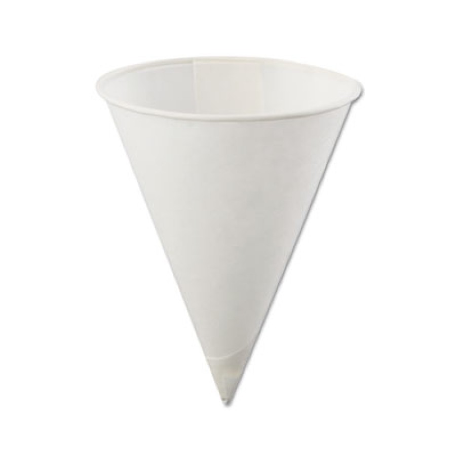 PAPER CUPS PAPER CUPS - Poly-Bag Rolled-Rim Paper Cone Cups, 4oz, WhiteKonie  Paper Cone CupsC-RLLD