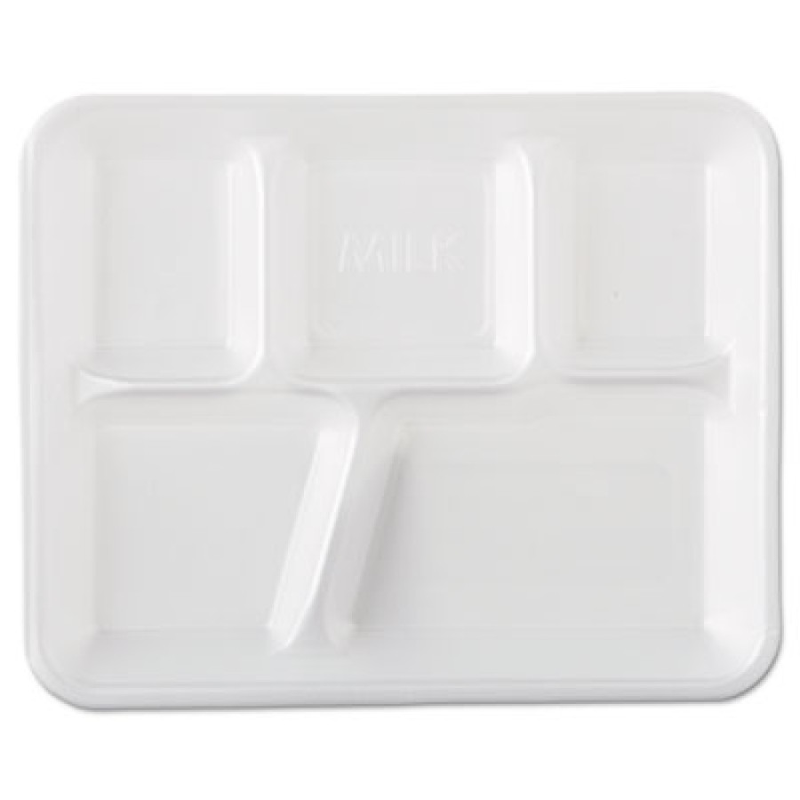 Lunch Tray Lunch Tray - Genpak  Foam School TraysSCHOOL TRAY,5-COMP,WHTSchool Tray Foam Serving Tray