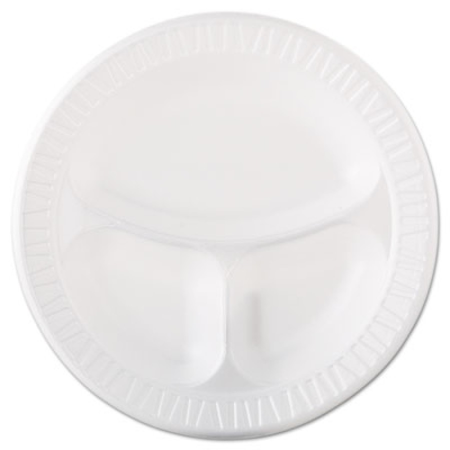 FOAM PLATES FOAM PLATES - Foam Plastic Plates, 10 1/4 Inches, White, Round, 3 Compartments, 125/Pack