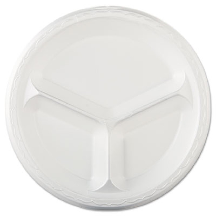 "FOAM PLATES FOAM PLATES - Elite Laminated Foam Plates, 10 1/4"", White, Round, 3 Compartments, 125/Pa"