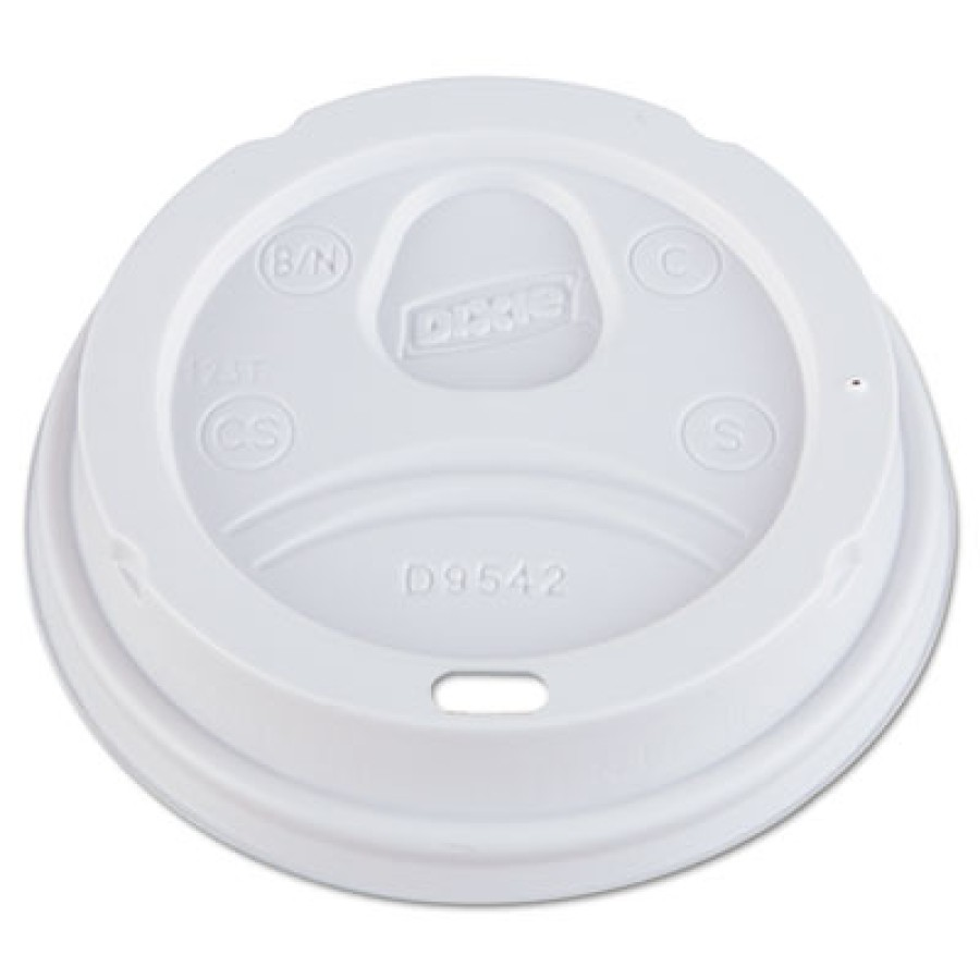 HOT CUP LIDS HOT CUP LIDS - Dome Drink-Thru Lids, Fits 12 oz. & 16 oz. Paper Hot Cups, WhiteDixie  D