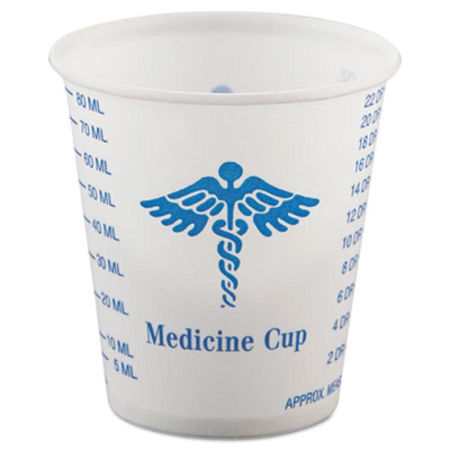MEDICINE CUP MEDICINE CUP - Paper Medical & Dental Graduated Cups, 3 oz., White/Blue, 100/BagSOLO  C