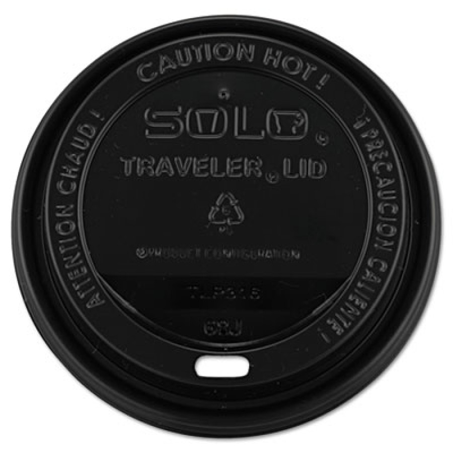HOT CUP LIDS HOT CUP LIDS - Traveler Drink-Thru Lids, 10-24oz Cups, BlackSOLO  Cup Company Traveler
