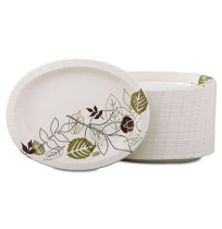 PAPER PLATES PAPER PLATES - Ultra Pathways Heavyweight Oval Platters, 8 1/2 x 11, Green/BurgundyUltr