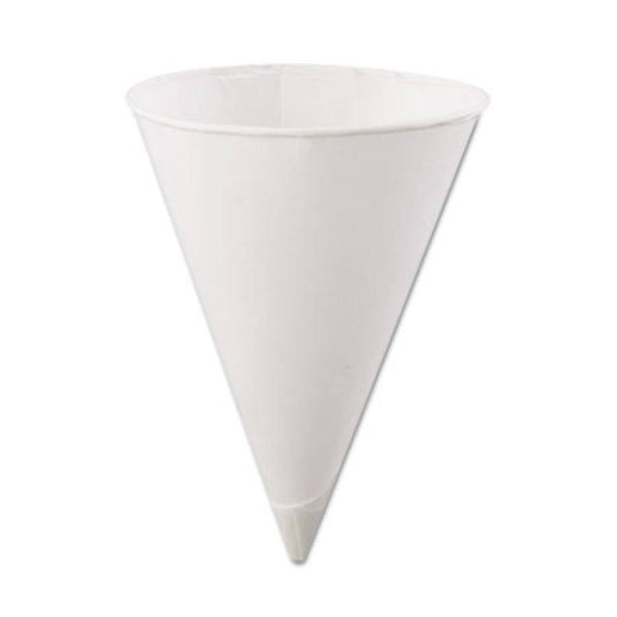PAPER CUPS PAPER CUPS - Rolled-Rim Paper Cone Cups, 4.5oz, WhiteKonie  Paper Cone CupsC-RLLD RIM PPR