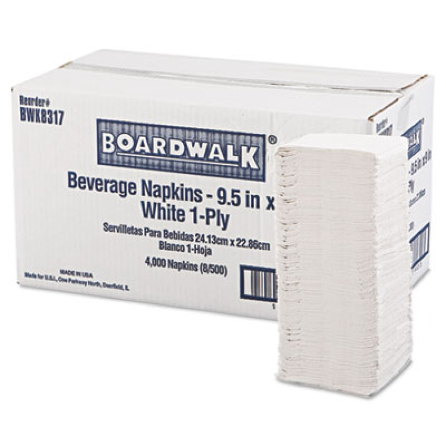 Napkin Napkin - Boardwalk  Cocktail NapkinsBEV NAP,9.5X9,WEBeverage Napkins, 1-Ply, 9 1/2 x 9, White