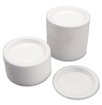 FOAM PLATES FOAM PLATES - Celebrity Foam Plates, 7 Inches, White, Round, 125/PackCut-resistant, nona