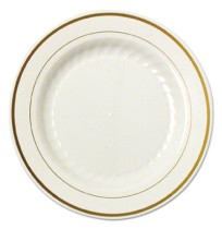 PLASTIC PLATES PLASTIC PLATES - Masterpiece Plastic Plates, 9 in., Ivory w/Gold Accents, Round, 10/P