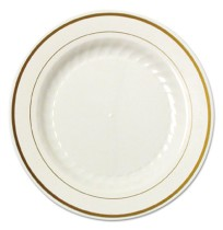 PLASTIC PLATES PLASTIC PLATES - Masterpiece Plastic Plates, 6 in., Ivory w/Gold Accents, Round, 125/