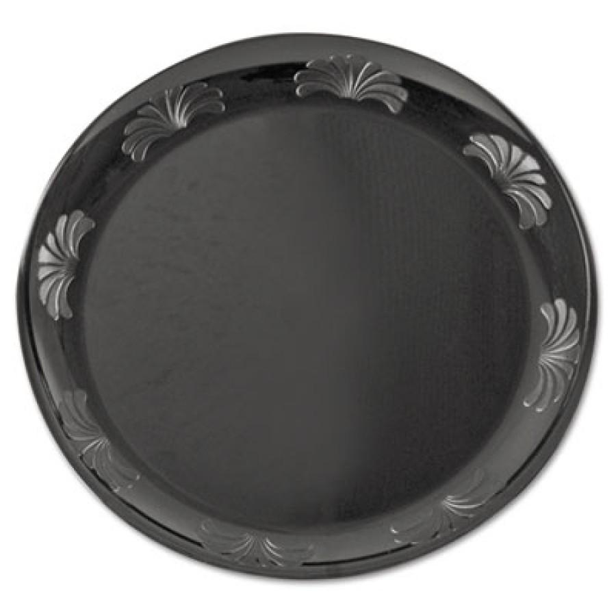 PLASTIC PLATES PLASTIC PLATES - Designerware Plastic Plates, 7 1/2 Inches, Black, Round, 10/PackWNA