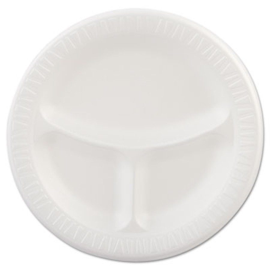 FOAM PLATES FOAM PLATES - Foam Plastic Plates, 9 Inches, White, Round, 3 Compartments, 125/PackDart