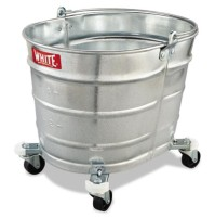 Metal Mop Bucket, Oval, Galvanized Steel, 26 quart