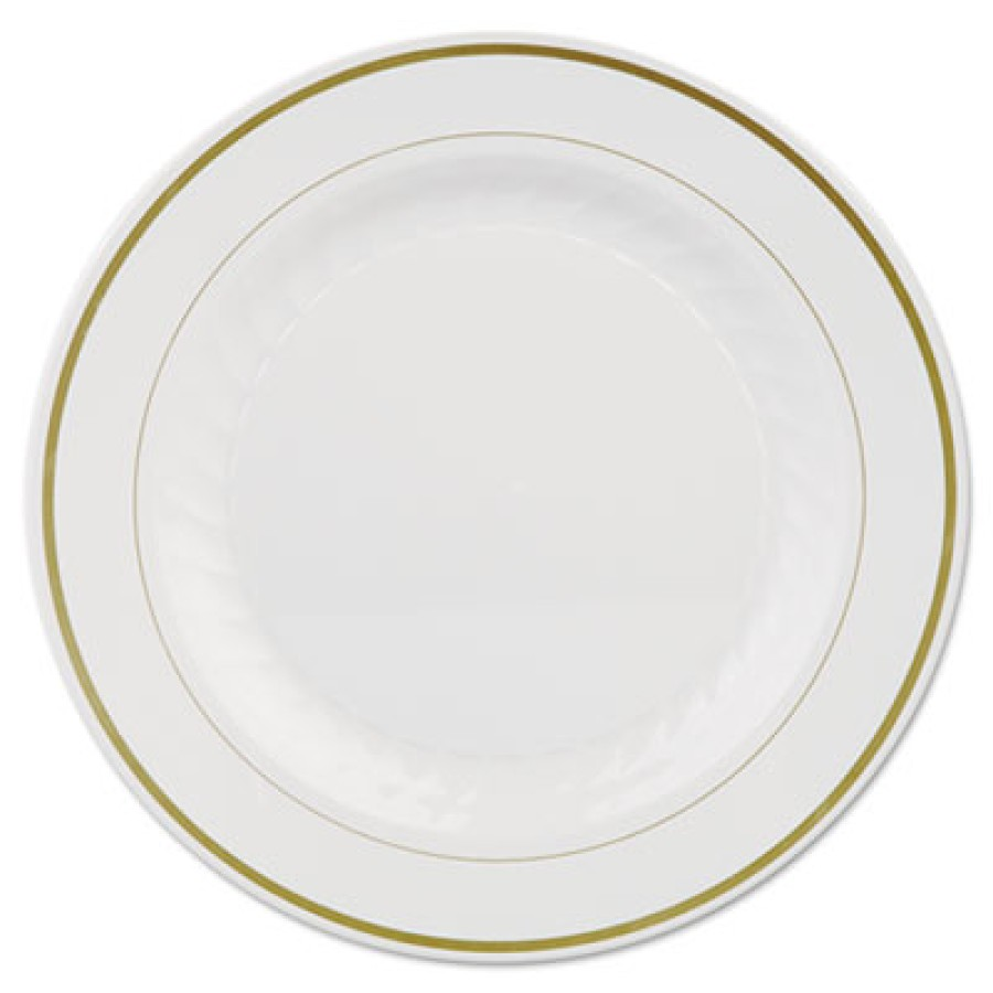 PLASTIC PLATES PLASTIC PLATES - Masterpiece Plastic Plates, 10 1/4in, Ivory w/Gold Accents, Round, 1
