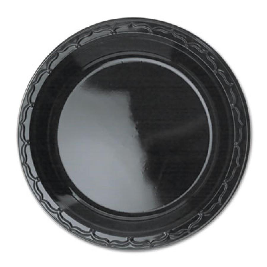 PLASTIC PLATES PLASTIC PLATES - Silhouette Black Plastic Plates, 9 Inches, Round, 125/PackGenpak  Si