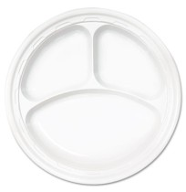 "PLASTIC PLATES PLASTIC PLATES - Famous Service Dinnerware, 3-Compartment Plate, 10 1/4"", WhiteDart"