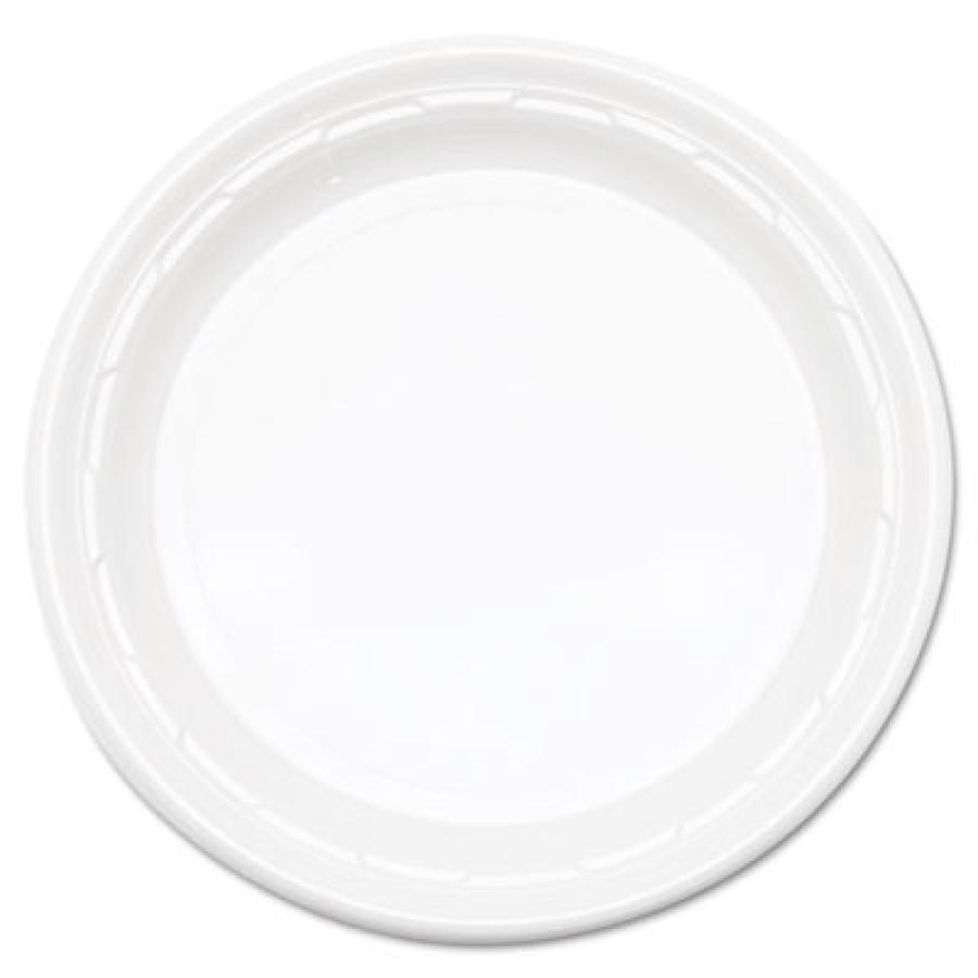 "PLASTIC PLATES PLASTIC PLATES - Famous Service Plastic Dinnerware, 10 1/4"", WhiteDart  Famous Servic"