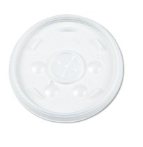 SLOTTED CUP LIDS SLOTTED CUP LIDS - Plastic Lids, for 12-oz. Hot/Cold Foam Cups, Slip-Thru Lid, Whit