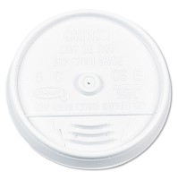 SLOTTED CUP LIDS SLOTTED CUP LIDS - Plastic Lids, for 16 oz. Hot/Cold Foam Cups, Sip-Thru Lid, White