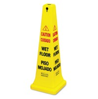"""Wet Floor Sign Wet Floor Sign - Rubbermaid  Commercial Multilingual Safety ConeCAUTION,36"""" CONE,YWFo"""