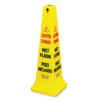 "Wet Floor Sign Wet Floor Sign - Rubbermaid  Commercial Multilingual Safety ConeCAUTION,36"" CONE,YWFo"