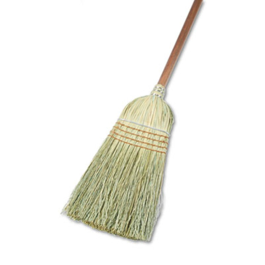"CORN BROOM HANDLE CORN BROOM HANDLE - Warehouse Broom, Yucca/Corn Fiber Bristles, 42"" Wood Handle, N"