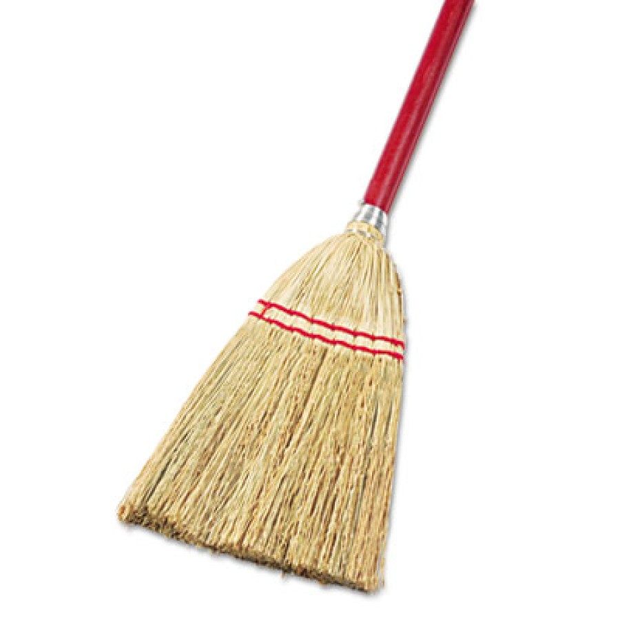 "CORN BROOM HANDLE CORN BROOM HANDLE - Lobby/Toy Broom, Corn Fiber Bristles, 39"" Wood Handle, Red/Yel"