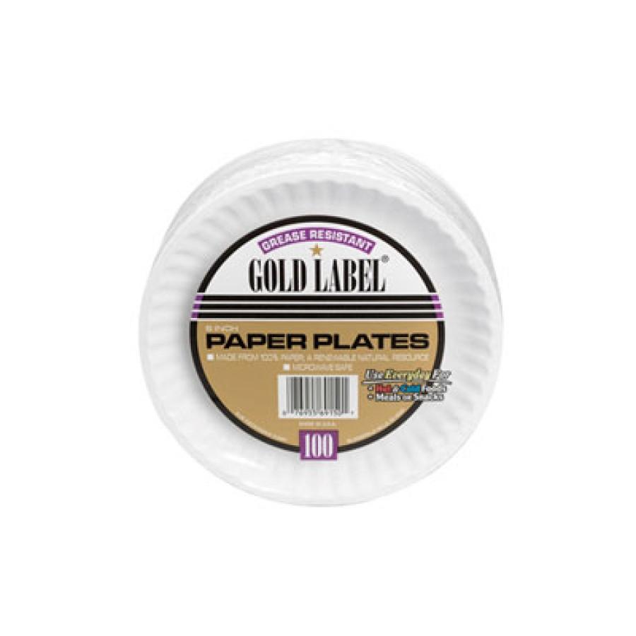 PAPER PLATE | PAPER PLATE | 12/100'S - C-GOLD LABEL PPR PLT  COAT 6IN