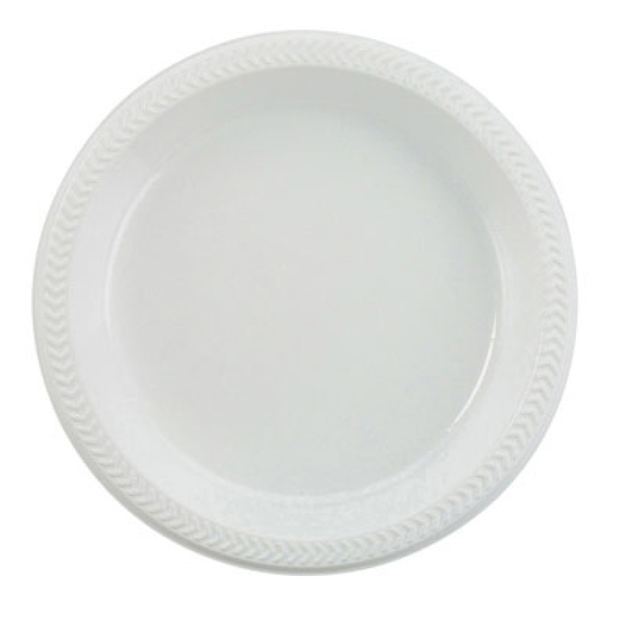 PLASTIC PLATES PLASTIC PLATES - Plastic Plates, 6 Inches, White, Round, 125/PackBoardwalk  Hi-Impact
